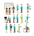 group of science people flat icon set vector image vector image