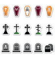Halloween graveyard icons set - coffin cross gr vector image
