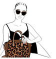 hand drawn beautiful woman in black bathing suit vector image vector image