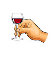 hand with glass of wine vector image