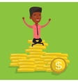 Happy businessman sitting on golden coins vector image