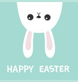 happy easter white bunny hare rabbit hanging vector image vector image