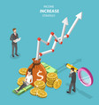 isometric flat concept of income increase vector image vector image