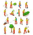 isometric gardeners farmers work in garden vector image vector image