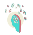 isometric style brainstorming process concept vector image vector image