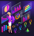 isometry girl holding icon holography cryptocurren vector image