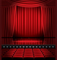 open red curtains with seats and copy space vector image vector image