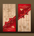 red and beige greeting christmas card with red vector image