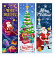 santa sleigh with elf christmas tree and gifts vector image