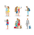 set tourist people with luggages vector image vector image