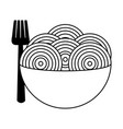 spaghetti with fork on bowl vector image