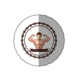 sticker colorful border with half body muscle man vector image vector image