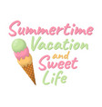 summertime and sweet life cartoon icon summer vector image