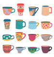 trendy cups coffee and tea mugs in scandinavian vector image