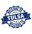 tulsa round ribbon seal vector image vector image