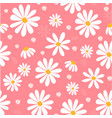white daisy flowers on pink pastel pattern seamles vector image