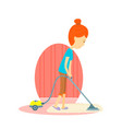 woman is cleaning the floor with a vacuum cleaner vector image