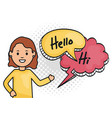 woman with speech bubbles with hi and hello vector image vector image
