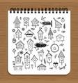 notebook design birdhouses sketch vector image