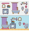 Bathroom with furniture in flat style vector image