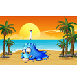 A blue monster writing at the beach vector image
