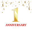 anniversary background design with gold confetti vector image