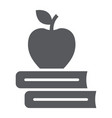 apple on the books glyph icon school education vector image