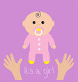 baby shower card its a girl two human hands vector image