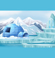 background scene with igloo in arctic vector image vector image