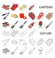 barbecue and equipment cartoon icons in set vector image