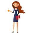 beautiful business woman holding a cup vector image