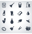 black cleaning icon set vector image vector image