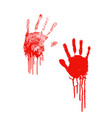 bloody silhouettes human palm prints with blood vector image vector image