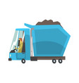 blue heavy duty dump truck with coal freight vector image