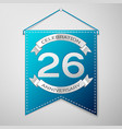 blue pennant with inscription twenty six years vector image vector image