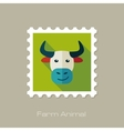 Bull flat stamp Animal head vector image vector image