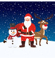 cartoon santa claus snowman and reindeers vector image vector image