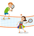 children playing tennis vector image vector image