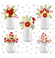 Christmas Flowers In Jars vector image