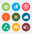 colorful web and social icons set vector image vector image
