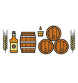 craft beer and brewery isolated icons bottle and vector image vector image