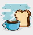 cute kawaii breakfast food cartoon vector image vector image