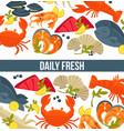 daily fresh seafood commercial banner with exotic vector image vector image