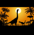 Dinosaurs - Brachiosaurus and Tyrannosaurus vector image