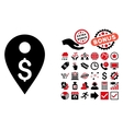 Dollar Map Marker Flat Icon with Bonus vector image vector image