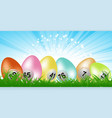 easter bingo lottery eggs panel on grass vector image vector image