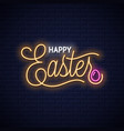 easter neon vintage lettering on wall background vector image