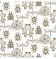 elegant line style insect seamless pattern vector image