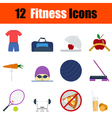 Flat design fitness icon set vector image vector image