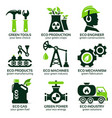 flat icon set for green eco production vector image vector image